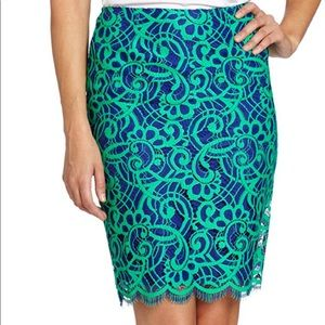 Lilly Pulitzer Hyacinth blue and green lace skirt